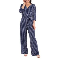 NY Collection Womens Sash Belt Jumpsuit