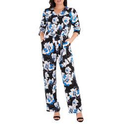 Womens Floral Sash Belt Jumpsuit
