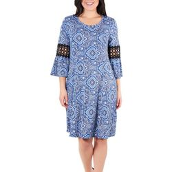 NY Collection Petite Crochet Sleeve Trim Dress