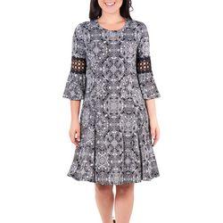 Petite Medallion Crochet Trim Dress