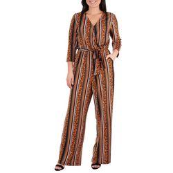 NY Collection Petite Stripe Sash Belt Jumpsuit