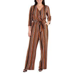Petite Stripe Sash Belt Jumpsuit