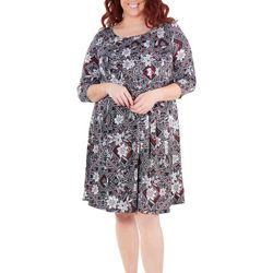 NY Collection Plus Floral Diamond Pleated Dress