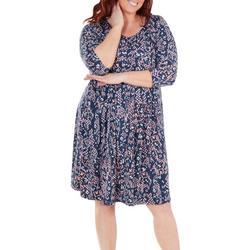 Plus Printed Box Pleat Dress