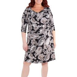 NY Collection Plus Paisley Cross Ruching Dress