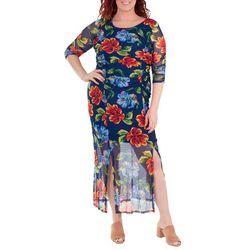 NY Collection Plus FLoral Double Slit Maxi Dress