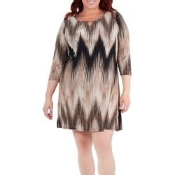 NY Collection Plus Striped Keyhome Shift Dress