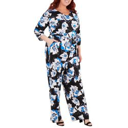 NY Collection Plus Floral Sash Belt Jumpsuit