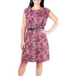 NY Collection Womens Belted Floral Dogtooth Dress