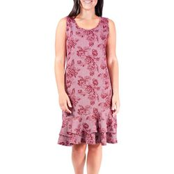 NY Collection Womens Floral Dogtooth Ruffle Dress