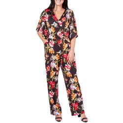 NY Collection Womens Floral Angel Sleeve Jumpsuit