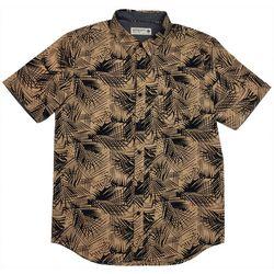 Retrofit Mens Mocha Palm Button Down Shirt