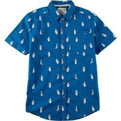 World Marketing Mens Penguin Button Down Short Sleeve Shirt