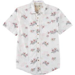 World Marketing Mens Hibiscus Button Down Short Sleeve Shirt