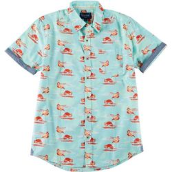 World Marketing Mens Flamingo Button Down Short Sleeve Shirt