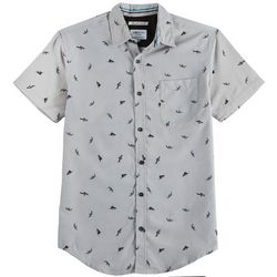 Geometrix Mens Shark Poplin Print Woven Shirt