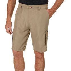Burnside Mens Solid Microfiber Cargo Shorts