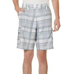 Burnside Mens Plaid Print Cargo Shorts