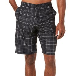 Burnside Mens Plaid Print Microfiber Cargo Shorts