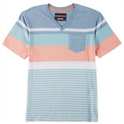 Distortion Mens Striped V-Neck T-Shirt