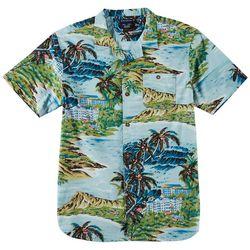 Distortion Mens Hawiian Print Pocket Shirt