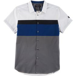 Kenneth Cole Mens Colorblocked Button Down Shirt