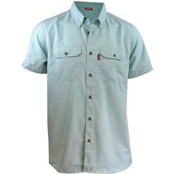 Deep Ocean Mens Boat 2 Bar Solid Short Sleeve Shirt