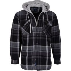 Smith's Workwear Mens Fleece Lined Black Plaid Hooded Jacket