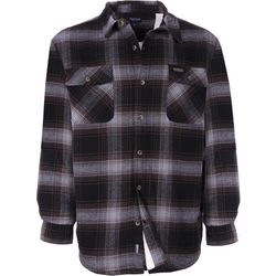 Smith's Workwear Mens Sherpa Lined Brown Plaid Shirt