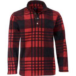Smith's Workwear Mens Long Sleeve Plaid Henley Shirt