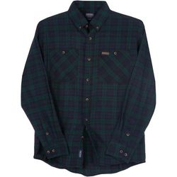 Smith's Workwear Mens Black Plaid Flannel Button Down Shirt
