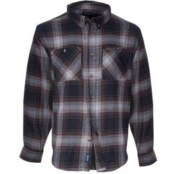 Smith's Workwear Mens Brown Plaid Flannel Button Down Shirt