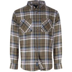 Smith's Workwear Mens Olive Plaid Flannel Button Down Shirt