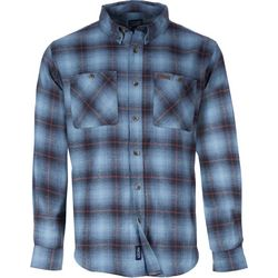 Smith's Workwear Mens Blue Plaid Flannel Button Down Shirt