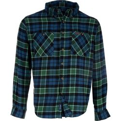 Smith's Workwear Mens Blue & Green Flannel Button Down Shirt