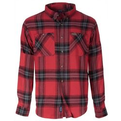 Smith's Workwear Mens Red Plaid Flannel Button Down Shirt