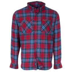 Smith's Workwear Mens Red & Blue Flannel Button Down Shirt