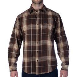 Smith's Workwear Mens Plaid Dark Brown Flannel Shirt