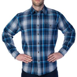 Smith's Workwear Mens Plaid Blue Flannel Shirt
