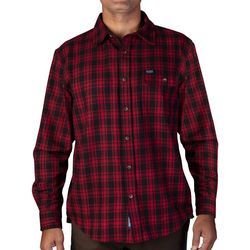 Smith's Workwear Mens Plaid Red & Black Flannel Shirt