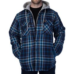 Smith's Workwear Mens Sherpa Flannel Hooded Shirt Jacket