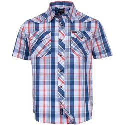 Smith's Workwear Mens Blue & Red Western Plaid Shirt