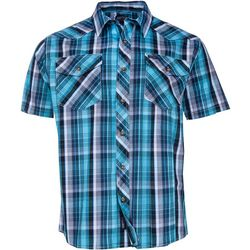 Smith's Workwear Mens Turquoise Western Plaid Shirt