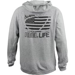 Reel Life Mens USA Circle Hook Heather Full Zip Hoodie
