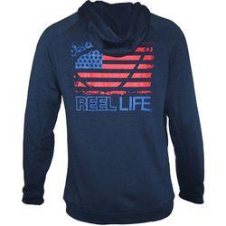 Reel Life Mens USA Circle Hook Deep Blue Full Zip Hoodie