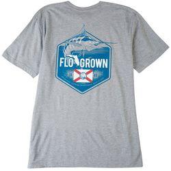 FloGrown Mens Marlin Badge Heathered Graphic T-Shirt
