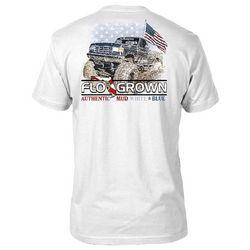 FloGrown Mens Mud, White & Blue Graphic T-Shirt