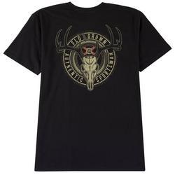 Mens Deer Skull Badge Graphic T-Shirt