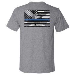FloGrown Mens Blue Line Flag Heathered Graphic T-Shirt