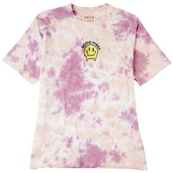 Visitor Mens Embroidered Good Vibes Smile Tie-Dye T-Shirt